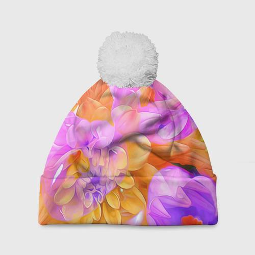 Шапка 3D c помпоном  Фото 01, Живописные цветы 4