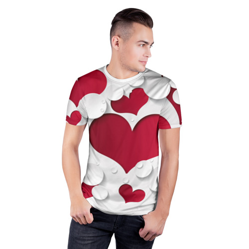 Мужская футболка 3D спортивная  Фото 03, Сердца 3