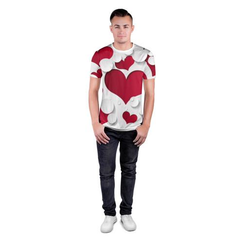 Мужская футболка 3D спортивная  Фото 04, Сердца 3