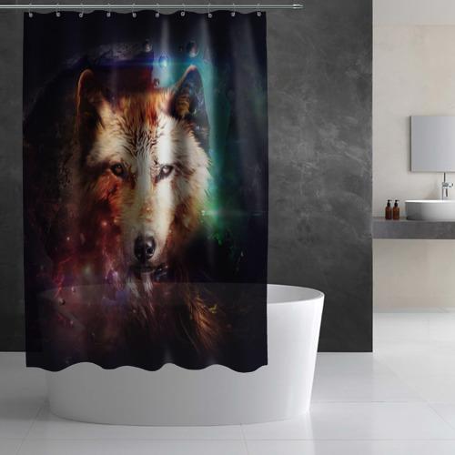 Штора 3D для ванной Волк Фото 01