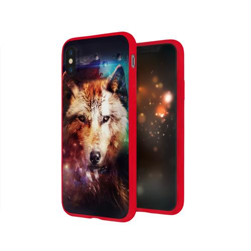 Чехол для iPhone X глянцевый Волк Фото 01