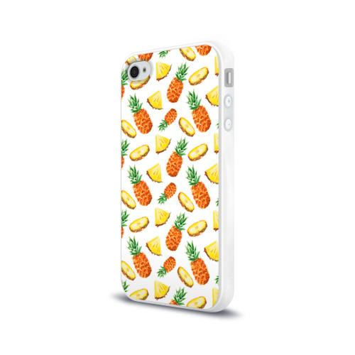 Чехол для Apple iPhone 4/4S силиконовый глянцевый  Фото 03, Ананасы 5