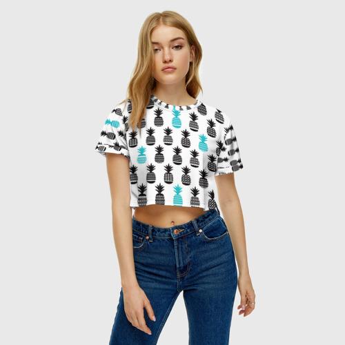 Женская футболка Crop-top 3D Ананасы 7 Фото 01