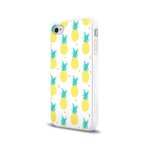 Чехол для Apple iPhone 4/4S силиконовый глянцевый  Фото 03, Ананасы 8