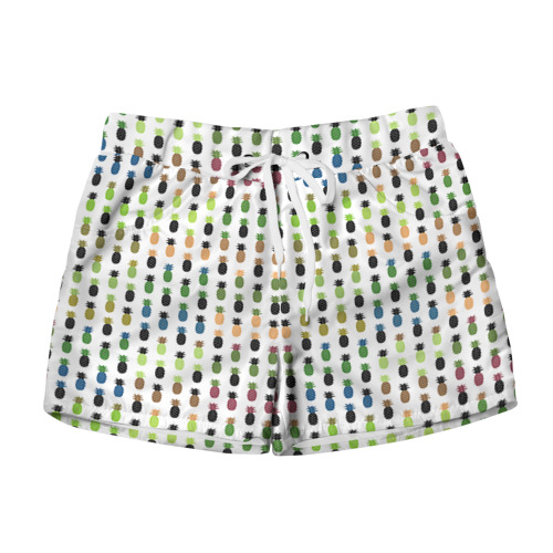 Женские шорты 3D  Фото 01, Ананасы 25