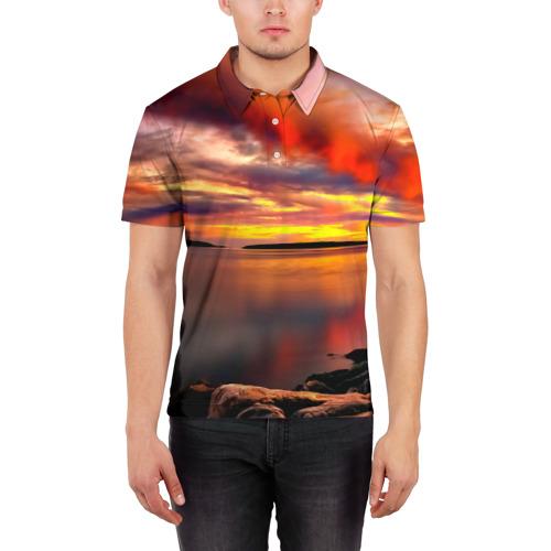 Мужская рубашка поло 3D  Фото 03, Закат