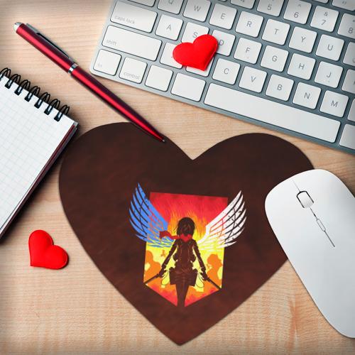 Коврик для мыши сердце  Фото 02, Attack on Titan - Mikasa
