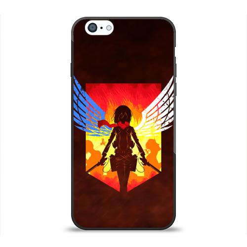 Чехол для Apple iPhone 6 силиконовый глянцевый  Фото 01, Attack on Titan - Mikasa