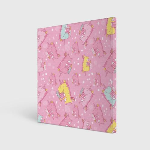 Холст квадратный  Фото 01, Единорожки с мороженкой