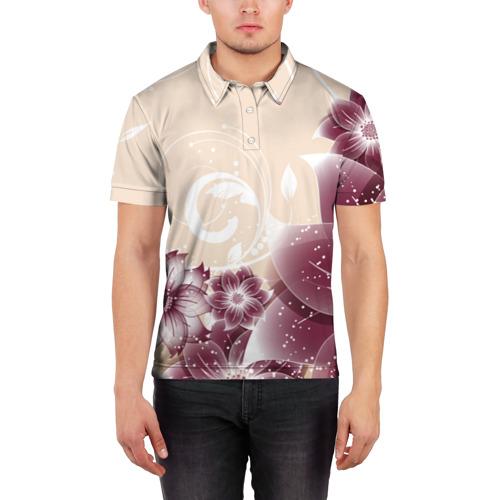 Мужская рубашка поло 3D  Фото 03, flowers