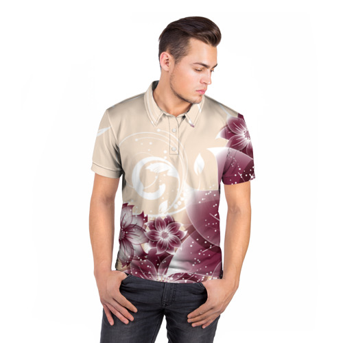 Мужская рубашка поло 3D  Фото 05, flowers