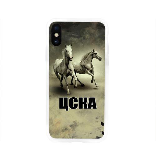 Чехол для Apple iPhone X силиконовый глянцевый ЦСКА
