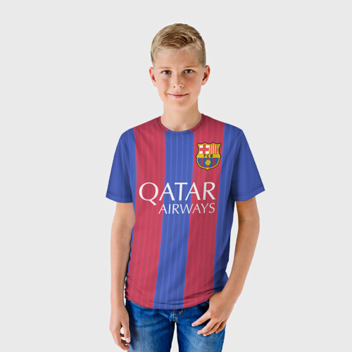Детская футболка 3D  Фото 01, Барселона форма
