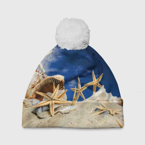 Шапка 3D c помпоном  Фото 01, Морской пляж 1