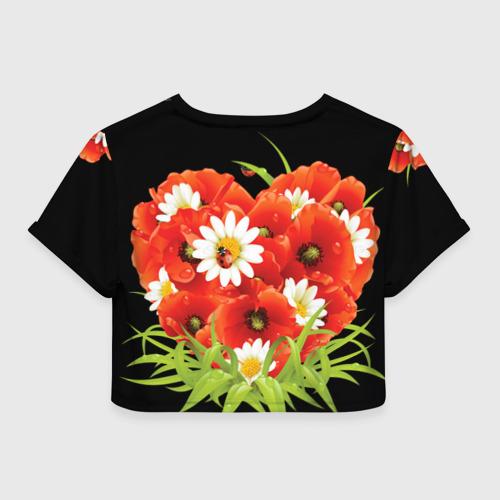 Женская футболка 3D укороченная  Фото 02, Маки