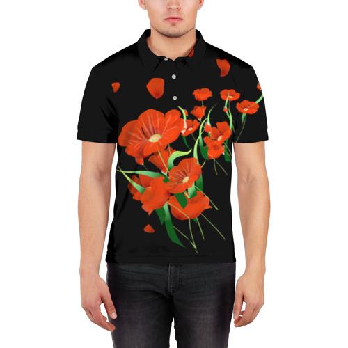 Мужская рубашка поло 3D  Фото 03, Маки