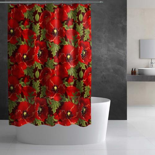 Штора 3D для ванной Маки Фото 01
