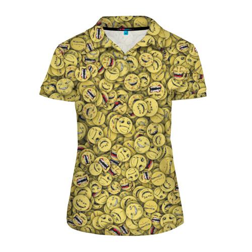 Женская рубашка поло 3D Злобные смайлы