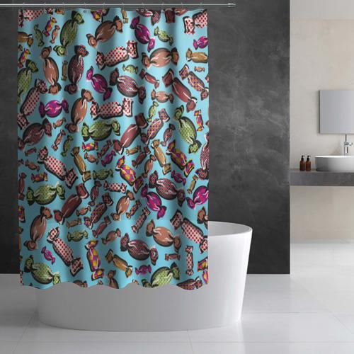 Штора 3D для ванной Конфеты Фото 01