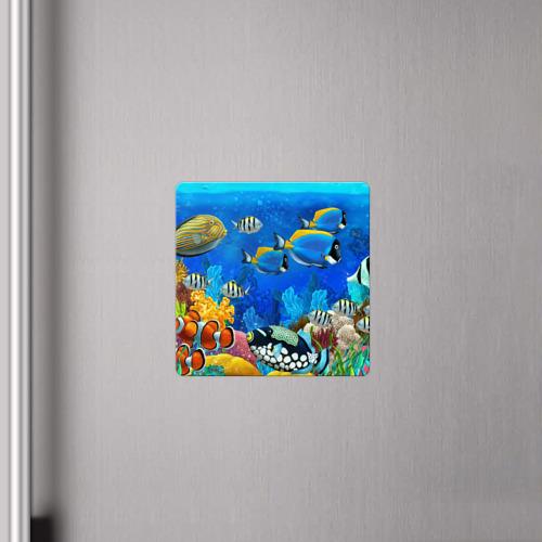 Магнит виниловый Квадрат Экзотические рыбки Фото 01