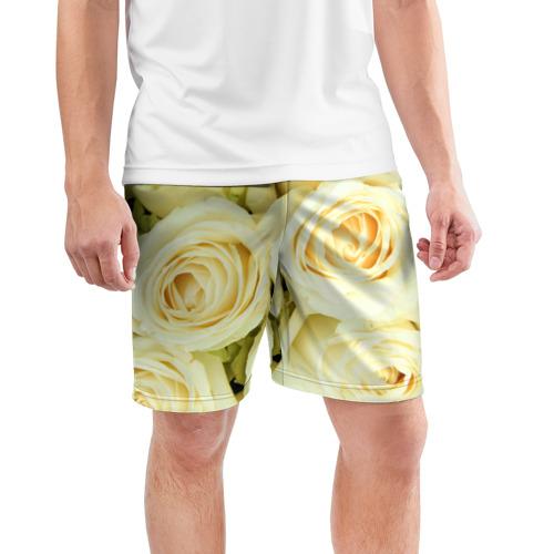 Мужские шорты 3D спортивные  Фото 03, Белые розы