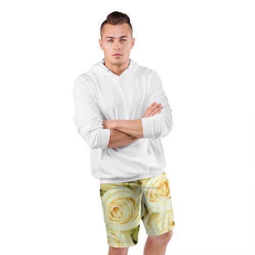 Мужские шорты 3D спортивные  Фото 05, Белые розы
