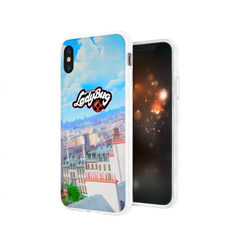 Чехол для Apple iPhone X силиконовый глянцевый  Фото 03, Леди баг и супер Кот