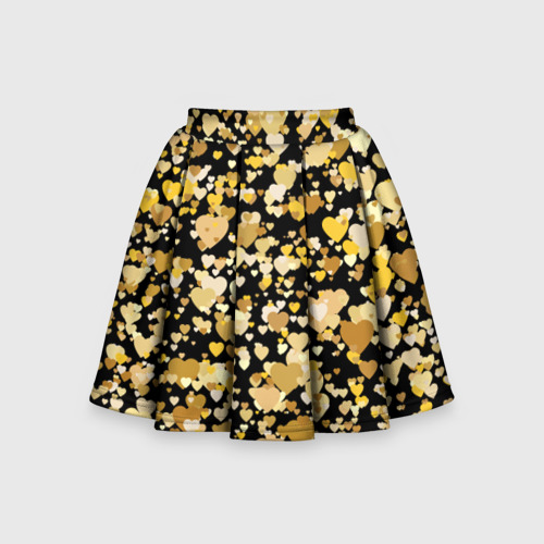 Детская юбка-солнце 3D Золотые сердца