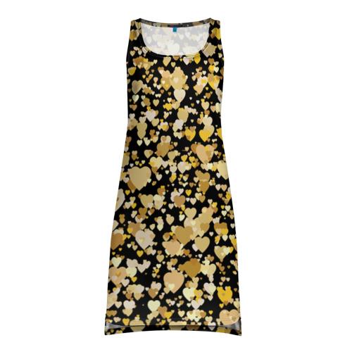 Платье-майка 3D Золотые сердца