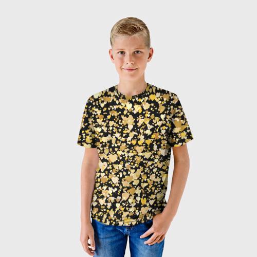 Детская футболка 3D Золотые сердца