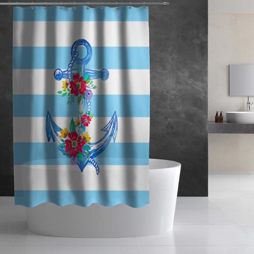 Штора 3D для ванной Якорь Фото 01