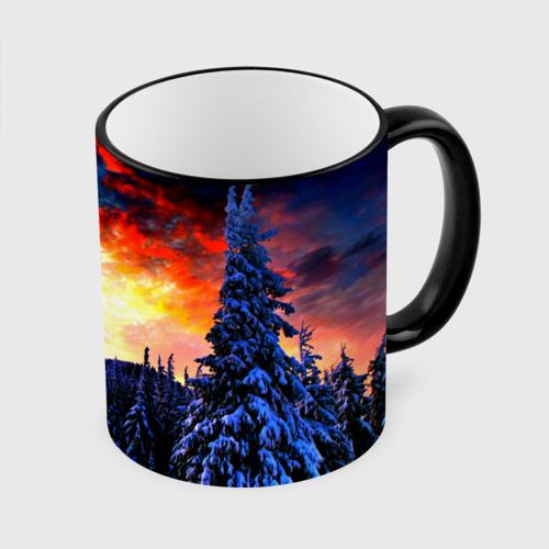 Кружка с полной запечаткой Зимний лес Фото 01