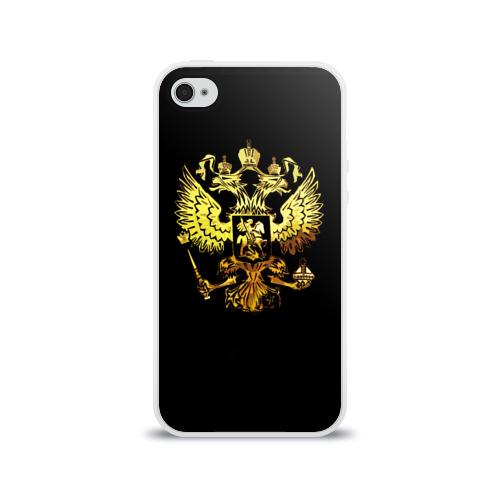Чехол для Apple iPhone 4/4S силиконовый глянцевый  Фото 01, Герб России (Art)