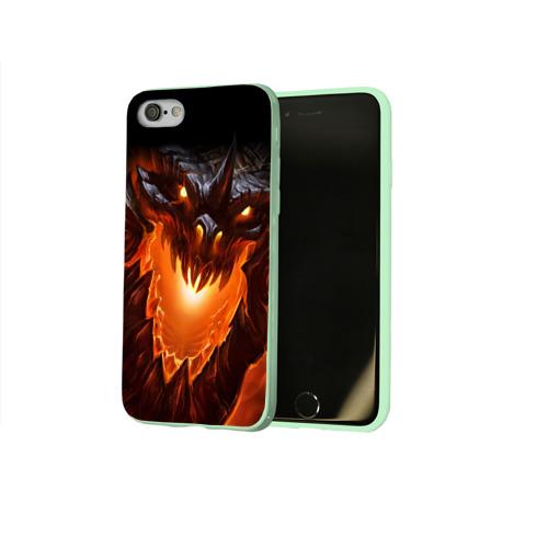Чехол для Apple iPhone 8 силиконовый глянцевый Огнедышащий дракон Фото 01