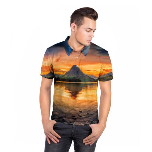 Мужская рубашка поло 3D  Фото 05, Гора