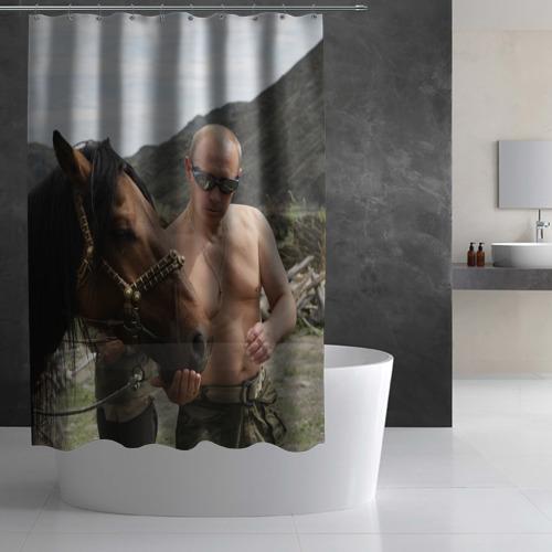 Штора 3D для ванной Путин с конем Фото 01