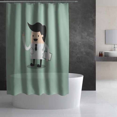 Штора 3D для ванной  Фото 03, Доктор