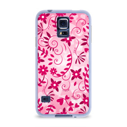 Чехол для Samsung Galaxy S5 силиконовыйРозовые цветы