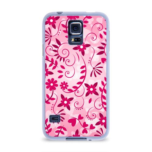 Чехол для Samsung Galaxy S5 силиконовый Розовые цветы