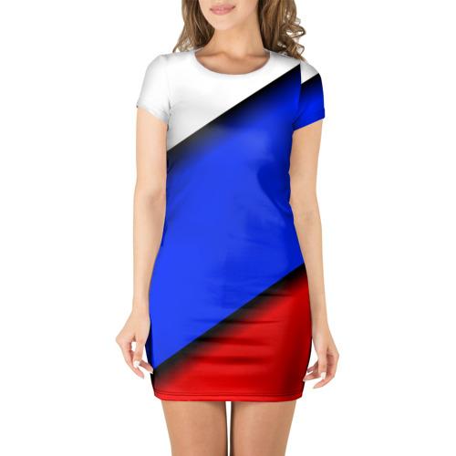 Платье 3D короткие рукава Российский флаг