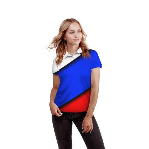 Женская рубашка поло 3D  Фото 03, Российский флаг