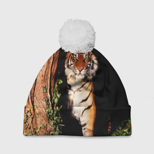 Шапка 3D c помпоном  Фото 01, Тигр