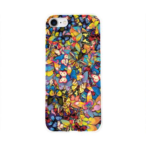 Чехол для Apple iPhone 8 силиконовый глянцевый Бабочки Фото 01