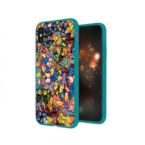 Чехол для Apple iPhone X силиконовый глянцевый Бабочки Фото 01
