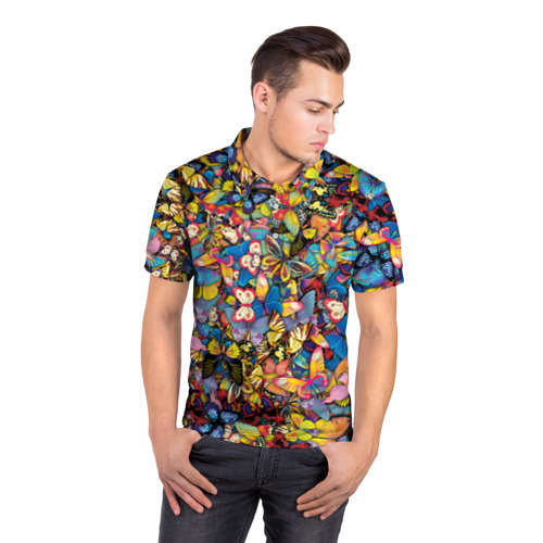 Мужская рубашка поло 3D Бабочки Фото 01