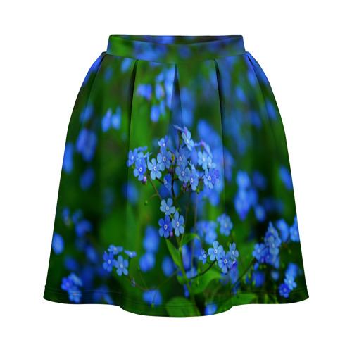 Юбка-солнце 3D Синие цветы