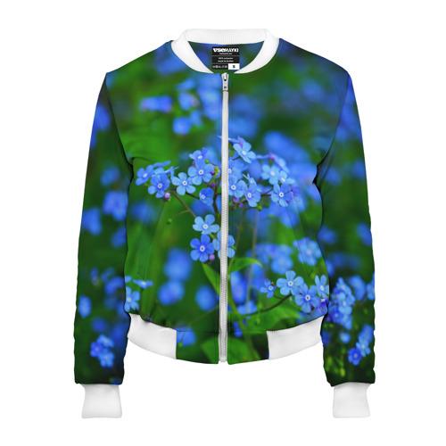 Женский бомбер 3D Синие цветы