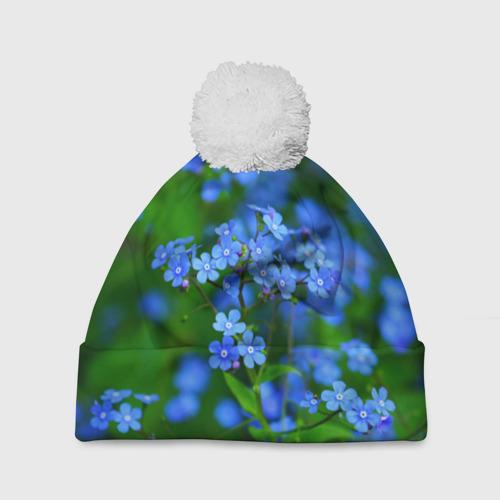 Шапка 3D c помпоном  Фото 01, Синие цветы