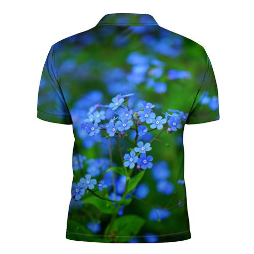 Мужская рубашка поло 3D  Фото 02, Синие цветы