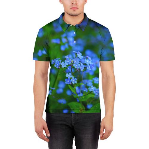 Мужская рубашка поло 3D  Фото 03, Синие цветы